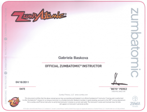 Certifikát ZUMBATOMIC®